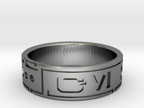 Star Wars ring - Aurebesh - 14 (US) / 72.5 (ISO) in Polished Silver