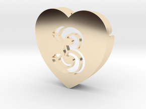 Heart shape DuoLetters print 3 in 14K Yellow Gold