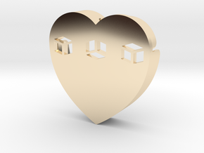 Heart shape DuoLetters print … in 14k Gold Plated Brass