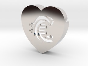 Heart shape DuoLetters print € in Platinum