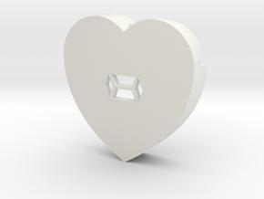 Heart shape DuoLetters print - in White Natural Versatile Plastic