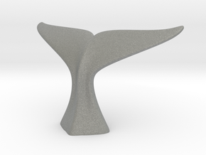 Hand-Modeled Whale Tail Nylon Sculpture in Gray PA12