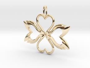 Swan-Heart Pendant in 14K Yellow Gold