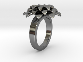 Bloom E Ring in Fine Detail Polished Silver