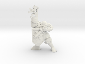 Knight with Dirk in White Natural Versatile Plastic