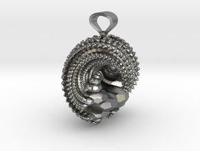 Kleinian Wave Fractal - Solid in Natural Silver