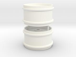 1/32 John Deere Rear rims for SIKU 718 tyres in White Processed Versatile Plastic