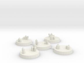 25mm Crystal Cluster Bases in White Natural Versatile Plastic