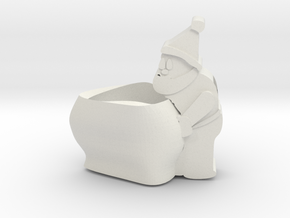 Santa self watering plant pot in White Natural Versatile Plastic