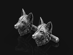 Wolf Cufflinks No.3_Silver_Mouth Close in Antique Silver