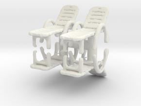 Deck Chair (x4) 1/64 in White Natural Versatile Plastic