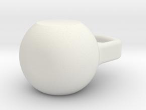 Kettlebell Keychain/Figurine in White Natural Versatile Plastic