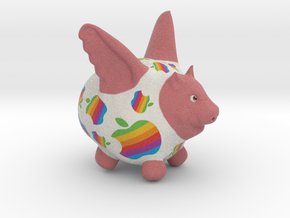Flying Pig Classic Apple Logo in Full Color Sandstone