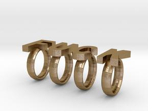 F U C K rings in Polished Gold Steel