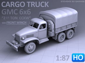 GMC 6x6 Truck (with front Winch) - (1:87 HO) in Smooth Fine Detail Plastic