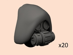 28mm Techno cult cyborg heads in Smoothest Fine Detail Plastic