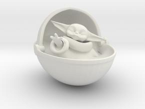 Baby Yoda Ornament in White Natural Versatile Plastic