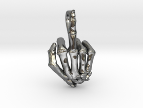 Fuck You Skeleton Hand in Polished Silver
