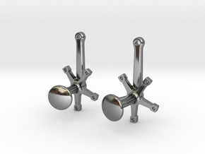 Bicycle Crank Cufflinks in Fine Detail Polished Silver
