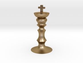 Tiny chess king in Polished Gold Steel