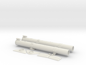 1/16 Aft Torpedo Tubes for PT Boats in White Natural Versatile Plastic