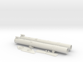 1/16 Forward Torpedo Tubes for PT Boats in White Natural Versatile Plastic