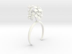 Amaryllis bracelet with six large flowers in White Processed Versatile Plastic: Medium