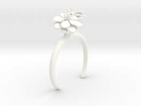 Anemone bracelet with two large flowers L in White Processed Versatile Plastic: Medium
