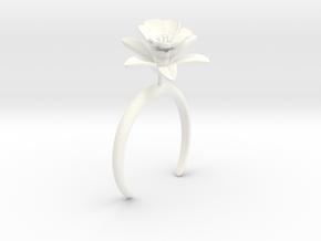 Pomegranate bracelet with one large flower in White Processed Versatile Plastic: Medium