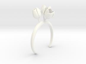 Tulip bracelet with three large flowers in White Processed Versatile Plastic: Medium