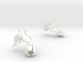Apple earring with two large flowers in White Processed Versatile Plastic