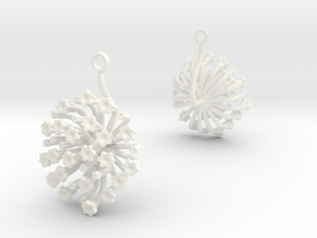 Fennel earring with one large flower in White Processed Versatile Plastic