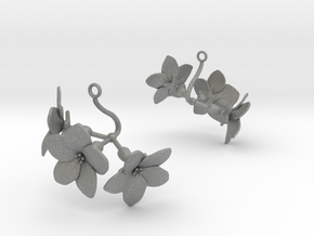 Melon earring with three large flowers in Gray PA12