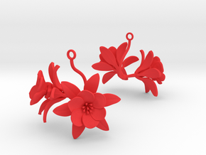 Pomegranate earring with two large flowers in Red Processed Versatile Plastic