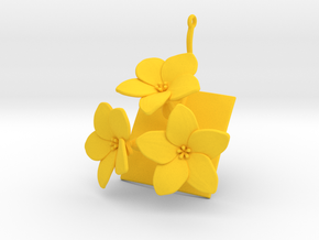 Melon pendant with three large flowers in Yellow Processed Versatile Plastic