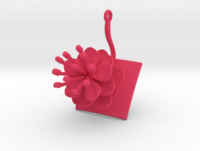 Peach invisus pendant with one large flower in Pink Processed Versatile Plastic