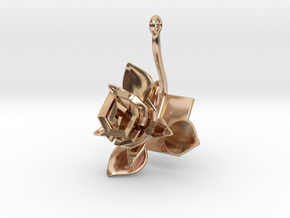 Rose pendant with one large flower II in 14k Rose Gold Plated Brass