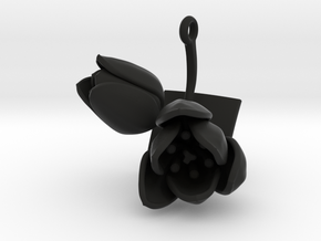 Tulip pendant with two large flowers II in Black Natural Versatile Plastic