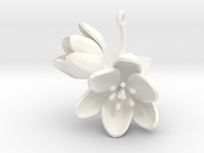 Tulip pendant with two large flowers III in White Processed Versatile Plastic