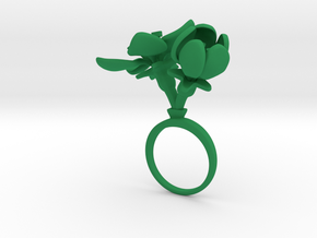 Apple ring with two large flowers in Green Processed Versatile Plastic: 7.25 / 54.625