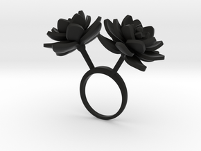 Lotus ring with two large flowers in Black Natural Versatile Plastic: 7.25 / 54.625