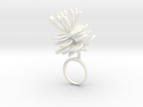 Peach invisus ring with one large flower in White Processed Versatile Plastic: 5.75 / 50.875