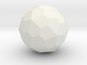 Pentagonal Hexecontahedron (Dextro) - 1 Inch in White Natural Versatile Plastic