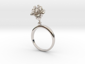 Cherry ring with two small flowers R in Rhodium Plated Brass: 7.25 / 54.625