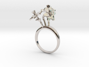 Daffodil ring with three small flowers in Rhodium Plated Brass: 7.25 / 54.625