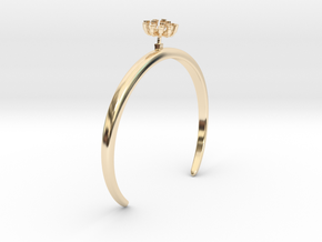 Fennel bracelet with one small flower in 14k Gold Plated Brass: Medium