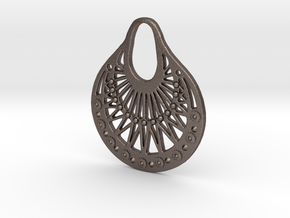 Ornamental Pendant / Earring in Polished Bronzed Silver Steel