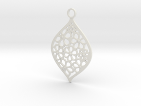 Floral Pendant / Earring in White Natural Versatile Plastic