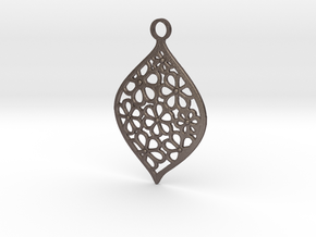 Floral Pendant / Earring in Polished Bronzed Silver Steel