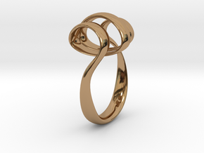 Triple Curl ring in Polished Brass: 7 / 54